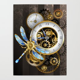Dials with Dragonfly ( Steampunk ) Poster