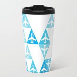 Geometric Planes Blue Travel Mug