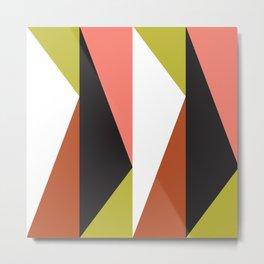 Geometric Pattern #23 (pink lime black triangle) Metal Print