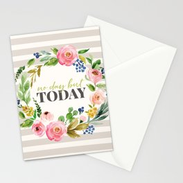 No Day But Today Stripey Watercolor Floral Stationery Cards