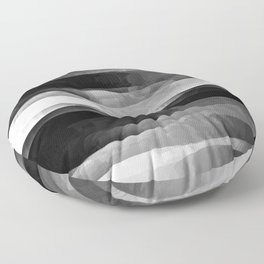 Glowing Smoky Abstract - Black and White Floor Pillow