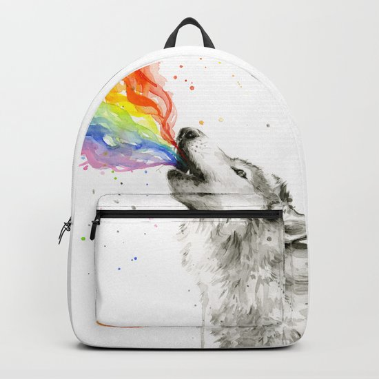 Wolf Rainbow Watercolor Howling Animal Whimsical Animals Backpack