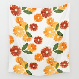 sliced oranges and spring watercolor Wall Tapestry