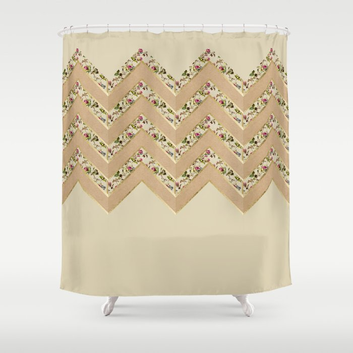 Pink Floral Faux Gold Coffee Brown Chevron Shower Curtain By Blackstrawberry