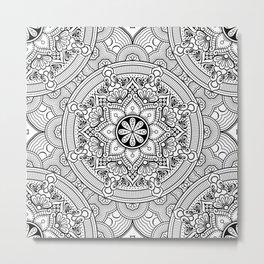 Black White Mandala Background Pattern Metal Print
