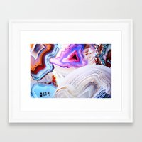 ice Framed Art Prints featuring Agate, a vivid Metamorphic rock on Fire by Elena Kulikova