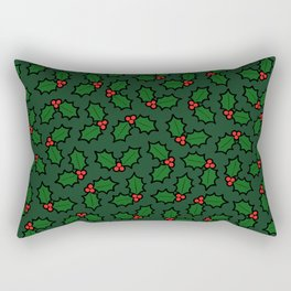 Holly Leaves and Berries Pattern in Dark Green Rectangular Pillow
