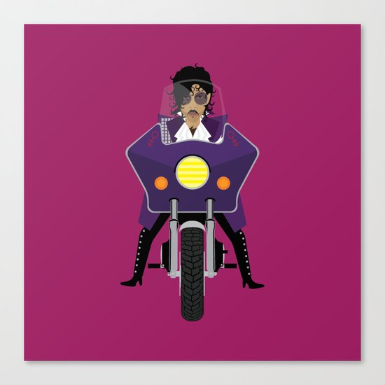 The Emoji-fication of His Purple Majesty: Motorcycle Canvas Print