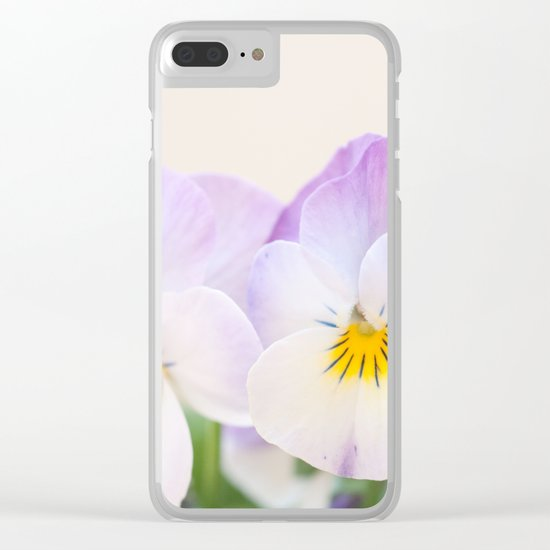 Spring Love #1 - Soft violet-white Pansies #decor #art #society6 Clear iPhone Case