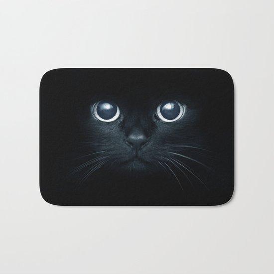 Black Cat in The Dark Bath Mat