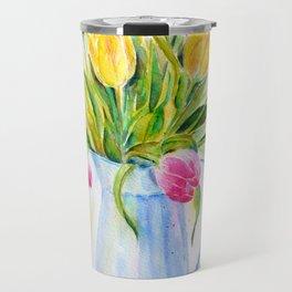 Watercolor vase of tulips Travel Mug