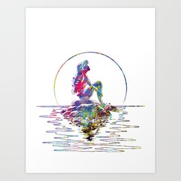 The Little Mermaid Ariel Silhouette Watercolor Art Print