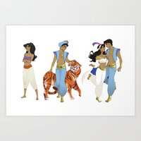 aladdin Art Prints featuring Genderbend Aladdin by TEAM JUSTICE ink.