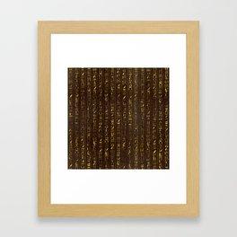 Golden Egyptian  hieroglyphics on wood Framed Art Print