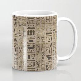 Egyptian hieroglyphs on wooden texture Coffee Mug