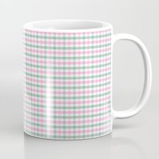 Gingham pink and forest green Mug