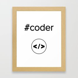 coder brackets programmer round circle  developer hashtag git Framed Art Print