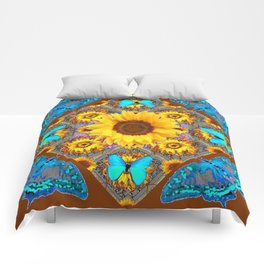 WESTERN SUNFLOWER BUTTERFLIES COFFEE BROWN Comforters