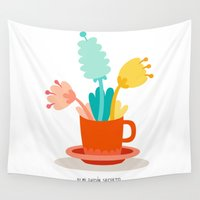 cup Wall Tapestries featuring Cup by Mi Jardín Secreto