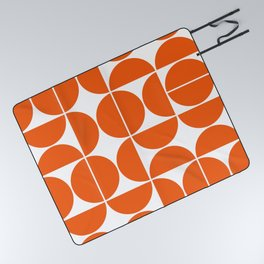 Mid Century Modern Geometric 04 Orange Picnic Blanket