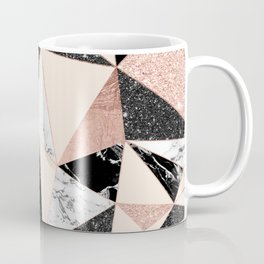 Modern black white marble rose gold glitter foil geometric abstract triangles pattern Coffee Mug