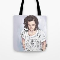 coconutwishes Tote Bags featuring Harry 1D tattoos T-shirt by Coconut Wishes