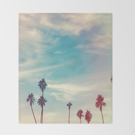 Los Angeles Palm Trees Light Leak Throw Blanket