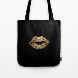 Gold Lips Blackout Tote Bag