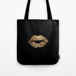 Gold Lips Blackout Tote Bag