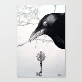Crow With The Key To The Mysteries of The Universe Canvas Print