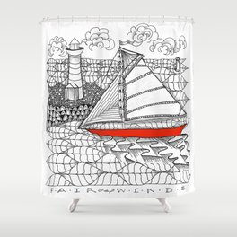 Sailors Dream Fair Winds Sailboat Zentangle Shower Curtain