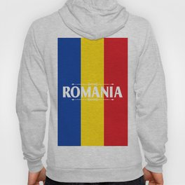 Romania Country Flag Colors and Text - red, yellow, blue Hoody