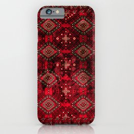 N129 - Epic Royal Red Oriental Traditional Moroccan Style Fabric Design  iPhone Case