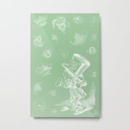Mad Hatter and Teapots Metal Print
