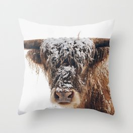 Snow Covered Highland Cow Throw Pillow
