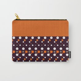 Colorful polka dots on black and purple background Carry-All Pouch