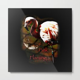 Pink Flamingo in the rain Metal Print