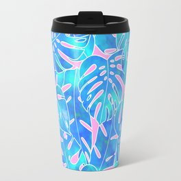 Blue watercolor monstera on pink background pattern Travel Mug