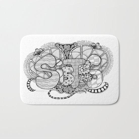 Zentangle Sisters Illustration Bath Mat