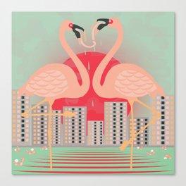 Frenching Flamingos Canvas Print