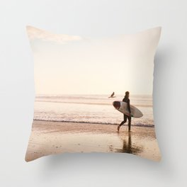 Surfing at Sunset photography print Throw Pillow