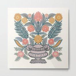 Folk Flowers Vase 2 Metal Print