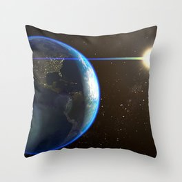 Night Lighted Earth from space Throw Pillow