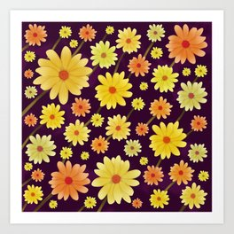Yellow dots, Yellow Flower, Floral Pattern, Yellow Blossom Art Print
