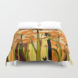 Orange California poppies, mid century, 70s retro, flowers Duvet Cover
