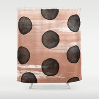 rose gold Shower Curtains featuring rose gold #2 by LEEMO