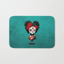 Day of the Dead Girl Playing Canadian Flag Guitar Bath Mat