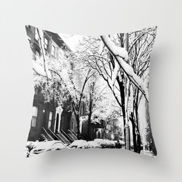 Black and White Photo of the Beautiful Brooklyn Heights covered in icy snow Throw Pillow