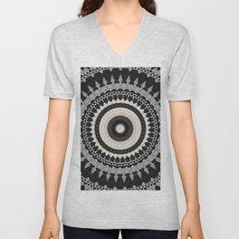 Grey Taupe Boho Mandala Design Unisex V-Neck