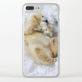 Polar bear with cub Clear iPhone Case